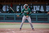 Adrian Del Castillo (44) of the Miami Hurricanes at bat against the North Carolina Tar Heels at Boshamer Stadium on April 23, 2021 in Chapel Hill, North Carolina. (Andy Mead/Four Seam Images)