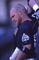 Darin Erstad of the Anaheim Angels during a 2001 season MLB game at Angel Stadium in Anaheim, California. (Larry Goren/Four Seam Images)