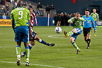 Osvaldo Alonso (6)  scores the second  goal for the Seattle Sounders against Chivas USA at the XBox 360 Pitch at Quest Field in Seattle, WA on October 15, 2010. The Sounders defeated Chivas USA 2-1.