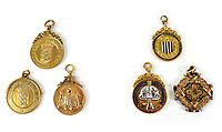 BNPS.co.uk (01202) 558833. <br /> Pic: AdamPartridgeAuctioneers/BNPS<br /> <br /> Pictured: John Asbury's medals. <br /> <br /> The medals of a footballing pioneer who helped form Liverpool FC are being auctioned off after the £2bn club said they couldn't afford to buy them.<br /> <br /> The family of John Asbury were told by the Premier League giants that they didn't have the funds to purchase the £10,000 collection.<br /> <br /> This was at a time when the club were plotting to controversially join the European Super League and when their top stars earn £220,000 a week.