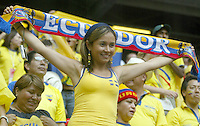 Ecuador fan celebrates during the game. Ecuador defeated Costa Rica 3-0 in their FIFA World Cup Group A match at FIFA World Cup Stadium, Hamburg, Germany, June 15, 2006.