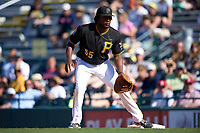 Pittsburgh Pirates first baseman Josh Bell (55) during a Spring Training game against the Boston Red Sox on March 9, 2016 at McKechnie Field in Bradenton, Florida.  Boston defeated Pittsburgh 6-2.  (Mike Janes/Four Seam Images)