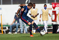 GUADALAJARA, MEXICO - MARCH 28: Sam Vines #13 of the United States crosses a ball into the box during a game between Honduras and USMNT U-23 at Estadio Jalisco on March 28, 2021 in Guadalajara, Mexico.