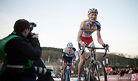 Klaas Vantornout (BEL/Sunweb-Napoleon Games) followed by Mathieu Vanderpoel (NLD/BKCP-Powerplus) on the Raidillon finish climb<br /> <br /> Superprestige Francorchamps 2014