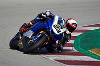 1st April 2021; Circuit de Barcelona Catalunya, Barcelona, Spain; FIM Superbike World Championship Testing; Christophe Ponsson of the Alstare Yamaha Team in action with the Worldsbk Yamaha YZF R1
