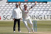 Simon Harmer of Essex celebrates taking the wicket of Ben Raine during Essex CCC vs Durham CCC, LV Insurance County Championship Group 1 Cricket at The Cloudfm County Ground on 18th April 2021