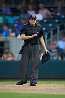 Home plate umpire Josh Gilreath engages with the Augusta GreenJackets dugout during the game against the Kannapolis Intimidators at SRG Park on July 6, 2019 in North Augusta, South Carolina. The Intimidators defeated the GreenJackets 9-5. (Brian Westerholt/Four Seam Images)