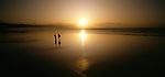 Fishermen on Ninety Mile Beach at sunset in the Northland Region. New Zealand