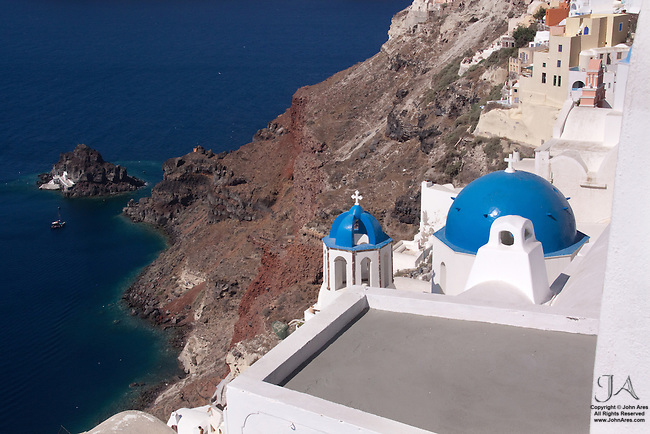 Coastline with Church near the Harbor in Oia