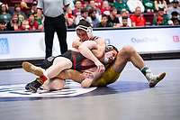 STANFORD, CA - March 7, 2020: Colt Doyle of Oregon State University and Josh Loomer of Cal State Bakersfield during the 2020 Pac-12 Wrestling Championships at Maples Pavilion.