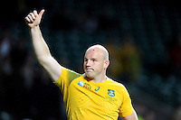 Stephen Moore of Australia thanks the fans after Match 35 of the Rugby World Cup 2015 between Australia and Wales - 10/10/2015 - Twickenham Stadium, London<br /> Mandatory Credit: Rob Munro/Stewart Communications