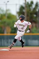 GCL Pirates center fielder Justin Harrer (16) runs the bases during the second game of a doubleheader against the GCL Yankees East on July 31, 2018 at Pirate City Complex in Bradenton, Florida.  GCL Pirates defeated GCL Yankees East 12-4.  (Mike Janes/Four Seam Images)