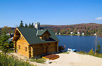 Log cabin home in beautiful setting on Big Lake called also Woodford Lake, Bennington, Vermont