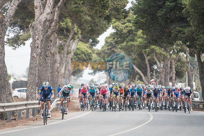 The breakaway tries to form during Stage 10 of La Vuelta d'Espana 2021, running 189km from Roquetas de Mar to Rincón de la Victoria, Spain. 24th August 2021.     <br /> Picture: Charly Lopez/Unipublic | Cyclefile<br /> <br /> All photos usage must carry mandatory copyright credit (© Cyclefile | Unipublic/Charly Lopez)