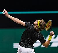 Rotterdam, The Netherlands, 4 march  2021, ABNAMRO World Tennis Tournament, Ahoy, Second round single: Stefanos Tsitsipas (GRE).<br /> Photo: www.tennisimages.com/henkkoster