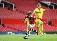Manchester United's Mason Greenwood shakes off a challenge from Brentford's Vitaly Janelt during Manchester United vs Brentford, Friendly Match Football at Old Trafford on 28th July 2021