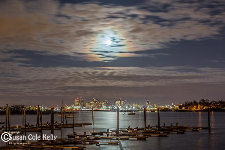 Moonset over Boston, Massachusetts, USA
