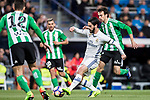 Isco Alarcon of Real Madrid competes for the ball with Ruben Pardo Gutierrez (r) of Real Betis during their La Liga match between Real Madrid and Real Betis at the Santiago Bernabeu Stadium on 12 March 2017 in Madrid, Spain. Photo by Diego Gonzalez Souto / Power Sport Images