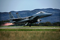 McDonnel Douglas F-15C Eagle from 493 Fighter Squadron of the US Air Force taking off with afterburner. BOLD AVENGER 2007 (BAR 07), a NATO  air exercise at Ørland Main Air Station, Norway. BAR 07 involved air forces from 13 NATO member nations: Belgium, Canada, the Czech Republic, France, Germany, Greece, Norway, Poland, Romania, Spain, Turkey, the United Kingdom and the United States of America. The exercise was designed to provide training for units in tactical air operations, involving over 100 aircraft, including combat, tanker and airborne early warning aircraft and about 1,450 personnel.