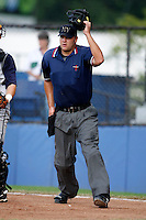 July 30, 2009: Home plate umpire Aaron Larsen during a game at Russell Diethrick Park in Jamestown, NY.  NY-Penn League Short-Season Single-A.  Photo By Mike Janes/Four Seam Images