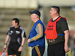 Clare management's Maurice Walsh and Brendan Rouine on the sideline during their Munster Minor football semi-final against Tipperary at Thurles. Photograph by John Kelly.