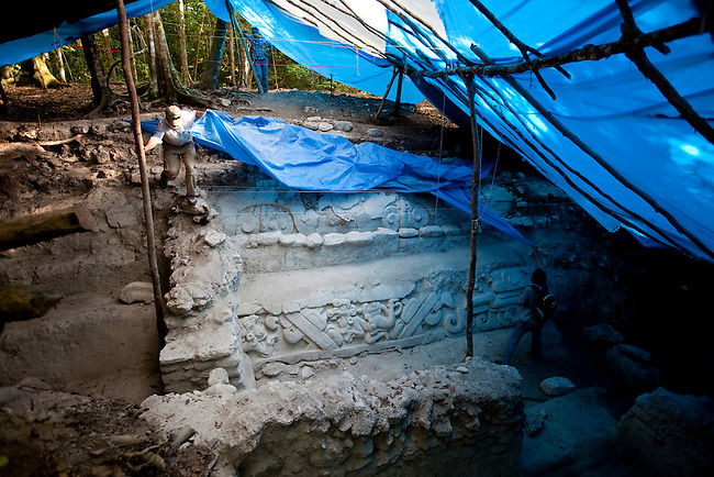 Excavated and rebuilded archeological carvings  at El Mirador site.