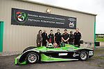 Peter Hain MP, the Secetary of State for Wales and Llanelli MP Nia Griffith with staff and students at the official launch of Swansea Metropolitan University's new BSc (Hons) degree in Motorsport Technology at the Pembrey Motor Circuit in Llanelli today. Mr Hain took to the wheel of one the University's fleet of motorsport vehicles and drove a couple of laps at high speed around the circuit..
