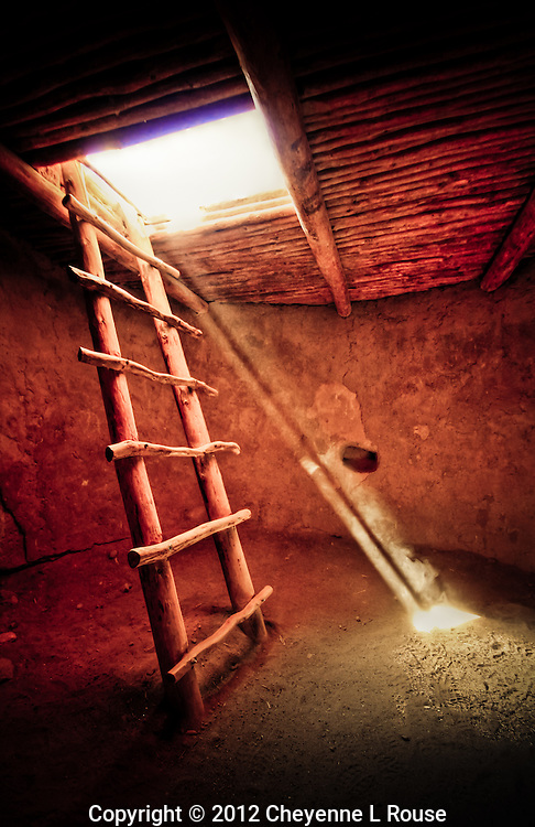 Ancient Kiva ladder - Alcove House - Bandeleier NM - New Mexico <br /> © 2012 Cheyenne L Rouse/All rights reserved