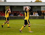 Matt Brian of Hucknall Town, and Joe Ashurst of Hucknall Town react as a chance to equalise is missed. Hucknall Town v Heanor Town, 17th October 2020, at the Watnall Road Ground, East Midlands Counties League. Photo by Paul Thompson.