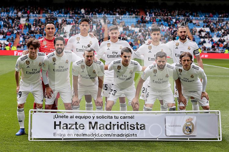 Real Madrid's team photo during La Liga match between Real Madrid and SD Eibar at Santiago Bernabeu Stadium in Madrid, Spain.April 06, 2019. (ALTERPHOTOS/A. Perez Meca)
