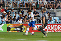SAINT PAUL, MN - JULY 3: Cade Cowell #44 of the San Jose Earthquakes and Brent Kallman #14 of Minnesota United FC battle for the ball during a game between San Jose Earthquakes and Minnesota United FC at Allianz Field on July 3, 2021 in Saint Paul, Minnesota.