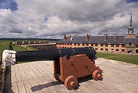 fort, cannon, Cape Breton, Nova Scotia, NS, Canada, Atlantic Ocean, Cannon displayed at King's Bastion at the Fortress of Louisbourg National Historic Site on Cape Breton Island in Nova Scotia.