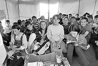 - school under a tent in camp of refugees escaping from Kosovo in Kukes (Albania), April 1999<br /> <br /> - scuola sotto una tenda in campo di profughi in fuga dal Kossovo a Kukes (Albania), aprile 1999