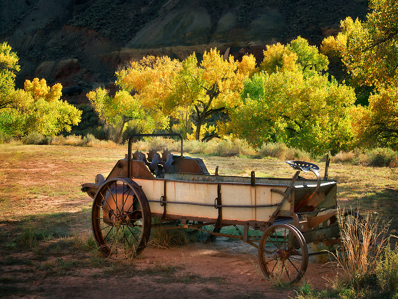 Historic wagon on old homestread with fall color. Capitol Reef National Park, Utah