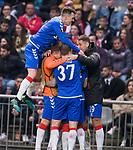 26.02.2020 SC Braga v Rangers: Ryan Kent mobbed as he celebrates his goal for Rangers