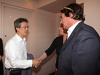 Montreal (QC) CANADA - August 2, 2012 - Presentation of Yves Simoneau  ''dans le ventre du dragon ''  HD REstaured version, made possible by the Elephant project.IN PHOTO :  Tatsuo Arai, Consul General of Japan (L), Pierre-Karl Peladeau (R)