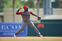 Dominican Republican shortstop Jose Reyes (7) throws to first base during a Spring Training exhibition game against the Baltimore Orioles on March 7, 2017 at Ed Smith Stadium in Sarasota, Florida.  Baltimore defeated the Dominican Republic 5-4.  (Mike Janes/Four Seam Images)