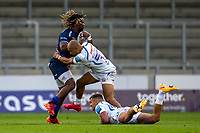 21st August 2020; AJ Bell Stadium, Salford, Lancashire, England; English Premiership Rugby, Sale Sharks versus Exeter Chiefs; Marland Yarde of Sale Sharks is tackled by Olly Woodburn of Exeter Chiefs