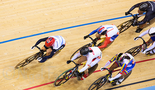 03 AUG 2012 - LONDON, GBR - Victoria Pendeleton (GBR) (left) of Great Britain takes an outside line round a bend during her Women's Keirin second round heat at the London 2012 Olympic Games track cycling in the Olympic Park Velodrome in Stratford, London, Great Britain (PHOTO (C) 2012 NIGEL FARROW)