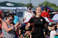 Fans watch during the penalty kick shootout during the finals of the 2011 FIFA Women's World Cup prior to a Women's Professional Soccer (WPS) match between Sky Blue FC and the Western New York Flash at Yurcak Field in Piscataway, NJ, on July 17, 2011.
