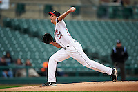 Rochester Red Wings pitcher Taylor Rogers (24) delivers a pitch during a game against the Toledo Mudhens on May 12, 2015 at Frontier Field in Rochester, New York.  Toledo defeated Rochester 8-0.  (Mike Janes/Four Seam Images)