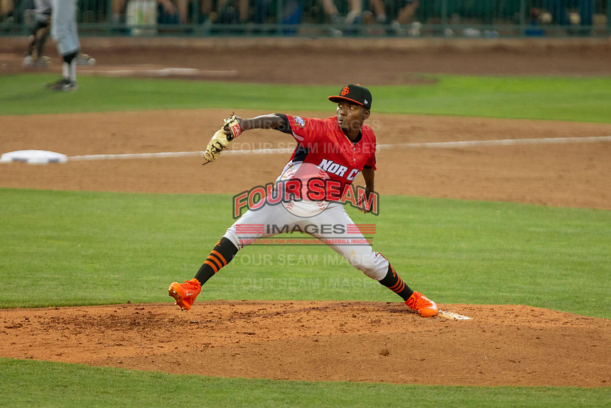 Sandro Cabrera (15) of the San Jose Giants delivers a pitch to the plate against the South Division during the 2018 California League All-Star Game at The Hangar on June 19, 2018 in Lancaster, California. The North All-Stars defeated the South All-Stars 8-1.  (Donn Parris/Four Seam Images)
