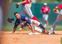 15 March 2016: Houston Astros infielder Tony Kemp, ranked the 15th Top Prospect in the Astros organization for 2016 by Baseball America, steals second base in the 8th inning of a Spring Training pre-season game against the Washington Nationals at Osceola County Stadium in Kissimmee, Florida. The Astros fell to the Nationals 6-4 in Grapefruit League play. Mandatory Credit: Ed Wolfstein Photo *** RAW (NEF) Image File Available ***