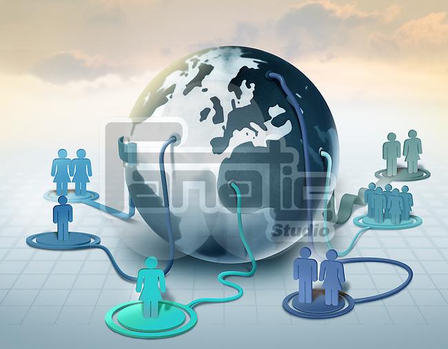 Illustrative image of crowd representing human network