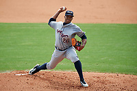 Lakeland Flying Tigers starting pitcher Sandy Baez (26) delivers a pitch during the first game of a doubleheader against the Clearwater Threshers on June 14, 2017 at Spectrum Field in Clearwater, Florida.  Lakeland defeated Clearwater 5-1.  (Mike Janes/Four Seam Images)