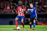 Thomas Teye Partey (L) of Atletico de Madrid fights for the ball with Pierre Bengtsson of FC Copenhague during the UEFA Europa League 2017-18 Round of 32 (2nd leg) match between Atletico de Madrid and FC Copenhague at Wanda Metropolitano  on February 22 2018 in Madrid, Spain. Photo by Diego Souto / Power Sport Images