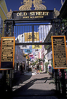 "AJ2424, St. Maarten, Caribbean, Philipsburg, Caribbean Islands, Entrance to """"Old Street"""" in Philipsburg the Dutch capital on the island of Sint Maarten (dutch part)."