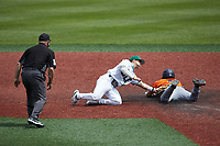 Nate Furman (16) of the Charlotte 49ers applies a late tag as Shea Gutierrez (3) of the UTSA Roadrunners slides into second base as umpire Mike Mazza looks on at Hayes Stadium on April 18, 2021 in Charlotte, North Carolina. (Brian Westerholt/Four Seam Images)