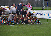 Jason Harries of London Scottish Football Club scores a try during the Greene King IPA Championship match between London Scottish Football Club and Rotherham Titans at Richmond Athletic Ground, Richmond, United Kingdom on 1 January 2017. Photo by Alan  Stanford.