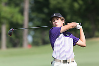 Fayetteville High School golfer Campbell Cox watches his tee shot on the sixth hole Monday, September 14, 2020, during the Fayetteville High School Bulldog Open Golf Tournament at Fayetteville Country Club in Fayetteville. Check out nwaonline.com/200915Daily/ and nwadg.com/photos for a photo gallery.<br /> (NWA Democrat-Gazette/David Gottschalk)
